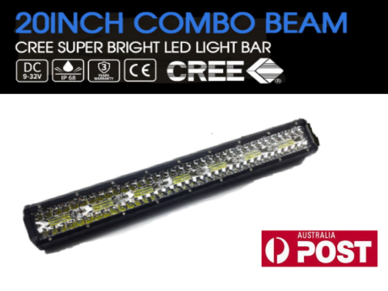 20inch CREE LED Light Bar Triple Row Spot Flood Combo Work Driving 12V 24V 4x4WD