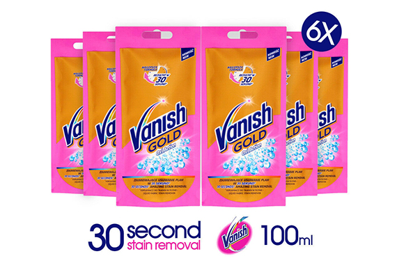 6x VANISH GOLD OXI ACTION LIQUID FABRIC STAIN REMOVER 100ML/3.52OZ