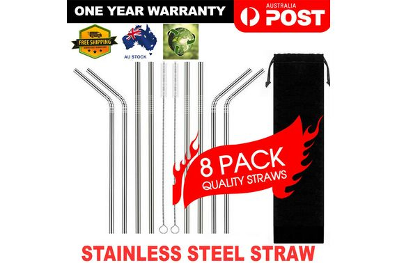 8 x Stainless Steel Metal Drinking Straws (4 Bent 4 Straight) Reusable + Brushes