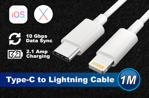 1M USB-C USB 3.1 Type C Male to Lightning 8Pin Data Cable for Macbook iPhone