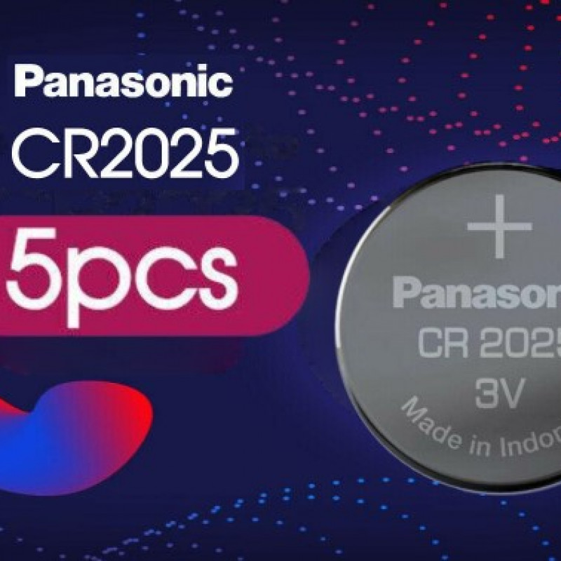 5x Panasonic CR2025 3V Lithium Battery Button Coin Cell 4 Alarm Car Key DL2025