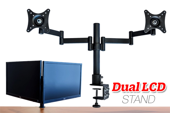 Dual LCD Monitor Desk Mounting Bracket - 2 Arms Hold 2 LCD Screens