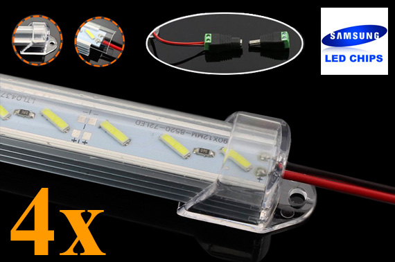 4x 50CM 12V 8520 Dimmable LED Strip Light Bar