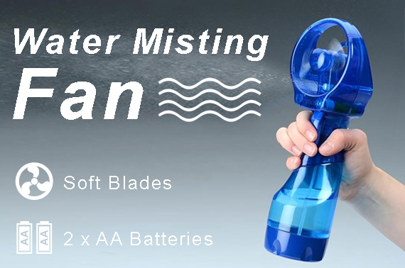 2x Deluxe Handheld Water Misting Fan