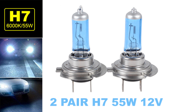 2 Pair H7 55W 12V Xenon HOD White 6000k Halogen Head Light Globe Bulb Lamp