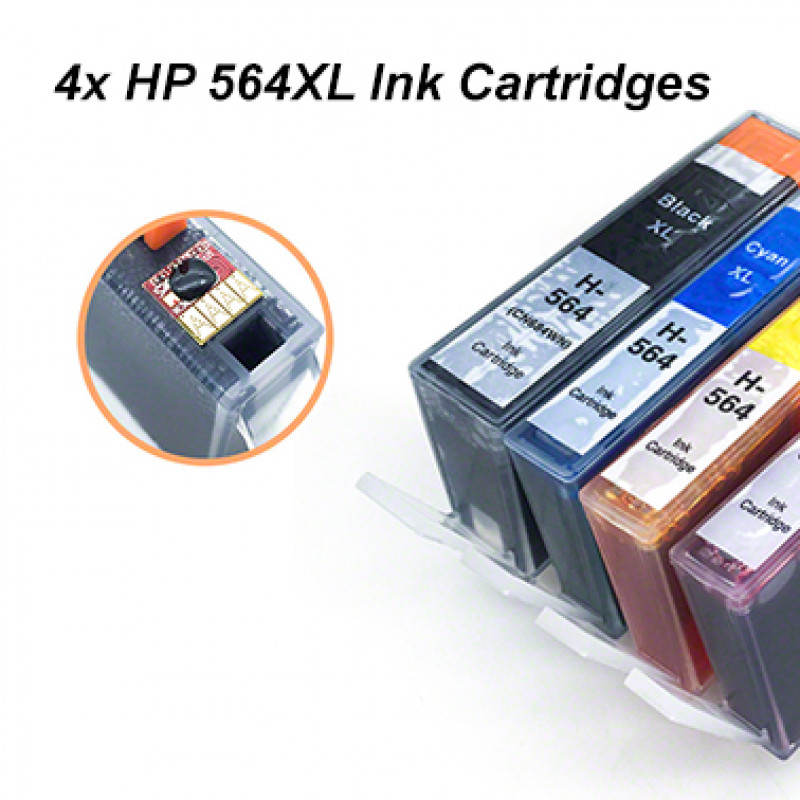4x HP 564XL Ink Cartridges for Photosmart 3070/5510/5520/6510/6520/7510/7520 Printer