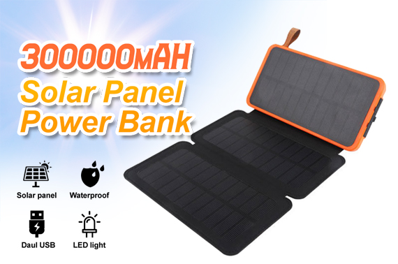 300000mAh Waterproof Portable Solar Charger Dual USB External Battery Power Bank