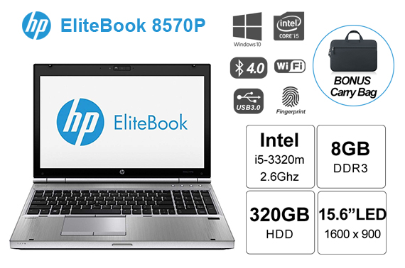 "Refurbished HP 8570p Core i5 3320m 2.6Ghz 8GB DDR3 320GB HDD 15.6"" 3G Laptop + Carry Bag"