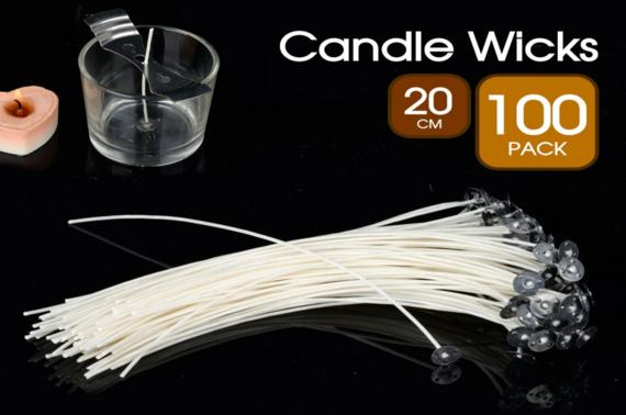 100x Candle Wicks Waxed Tabs Wick Pre Cotton Core Holder Low Smoke Sustainers (Online Special)