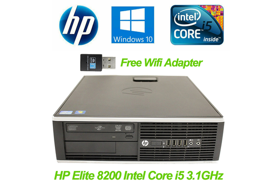 Refurbished HP Elite 8200 SFF Desktop PC with Free USB WiFi Adapter