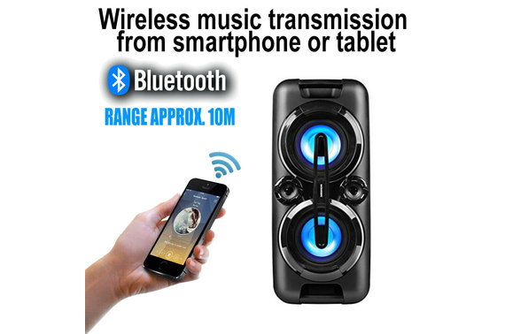 Refurbished MEDION Wireless Bluetooth 440W Party Speaker Karaoke LCD Radio AUX Sound System