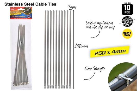 10x Stainless Steel Cable Ties SS 304 Marine Grade Zip Strap Locking Wrap 250MM