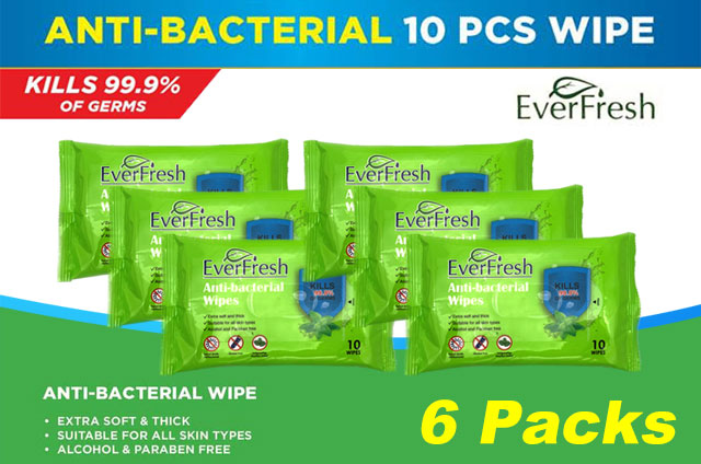 60pcs EverFresh Anti-bacterial Wet Wipes Kills 99.9% of Germs