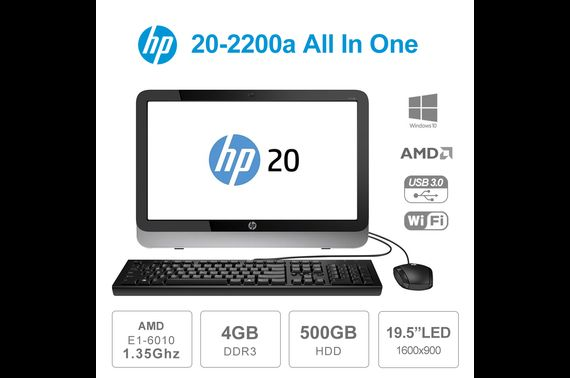 "Refurbished HP 20-2200a 20"" 1600 x 900 AIO AMD E1-6010 1.35GHz 4GB 500GB Win10 w/ KB & Mouse"