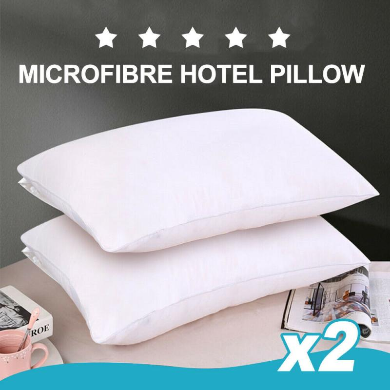 2 Pack Of Microfibre Hotel Grade Pillow Cotton Cover Anti-bacterial Hygiene AU