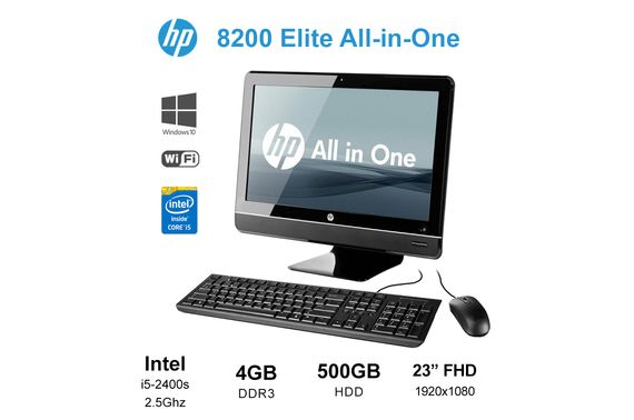 "Refurbished HP Elite 8200 AIO All in One 23"" FHD i5 2400s 2.5GHz 4GB 500GB WiFi + KB Mouse"