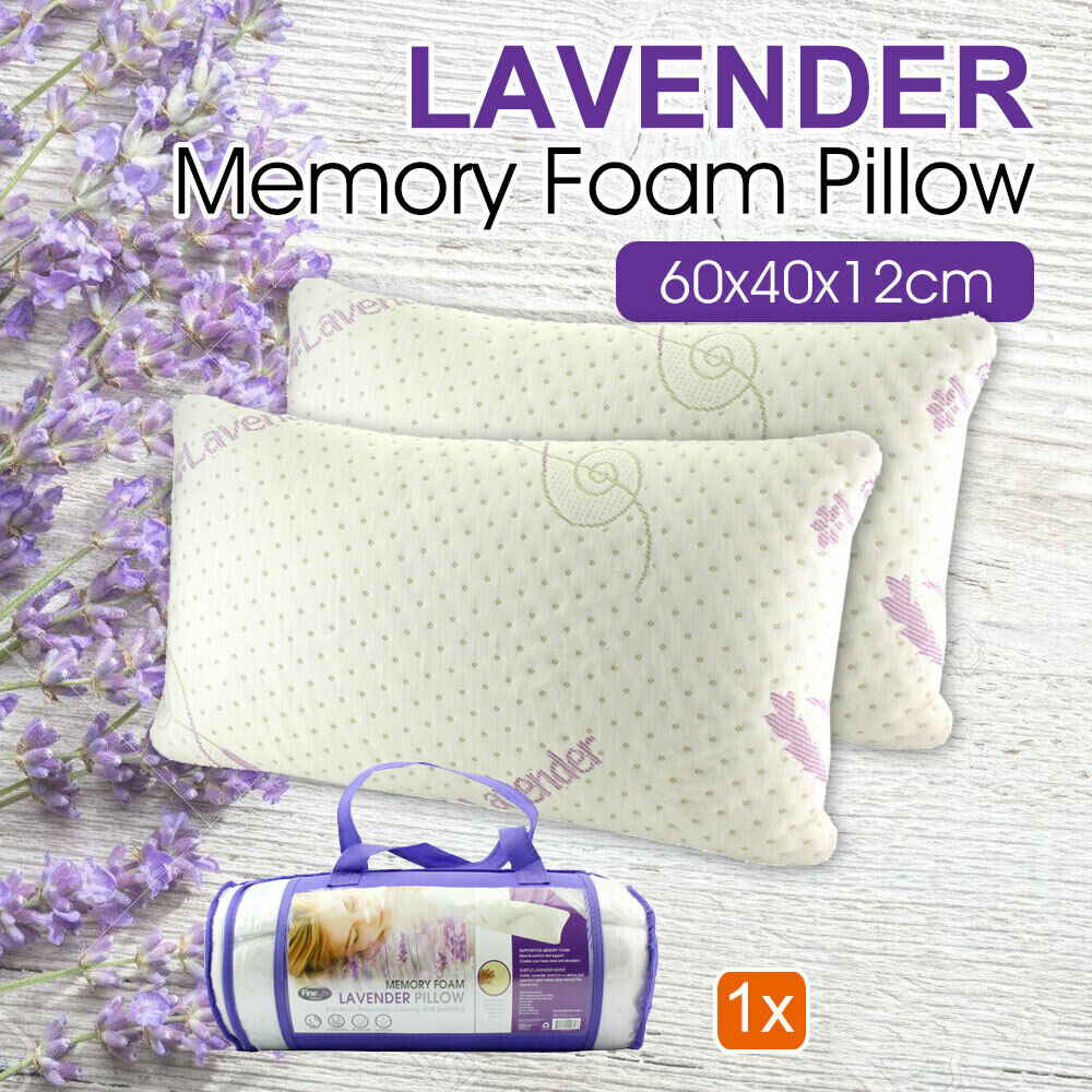 1x Lavender Scented Memory Foam Pillow Anti Allergy Comfort White 70x40x14cm