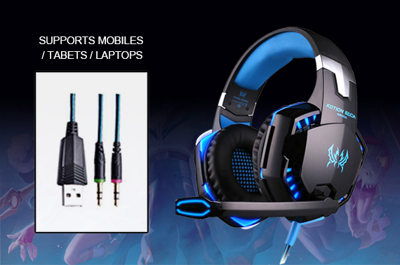 Gaming Headset LED Headband Luminous Headphones + Microphone