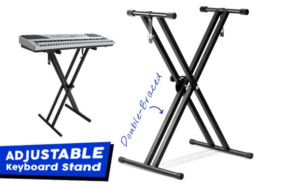Professional Adjustable X Type Double-Braced Keyboard Stand