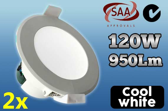 2x 12W Cool White Non-Dimmable LED Downlight Kit