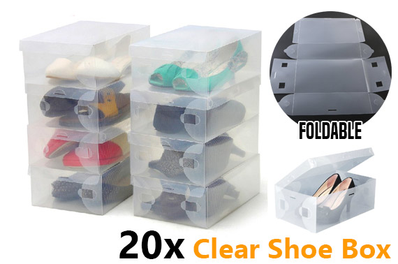 20x Transparent Foldable Plastic Shoe Storage Box