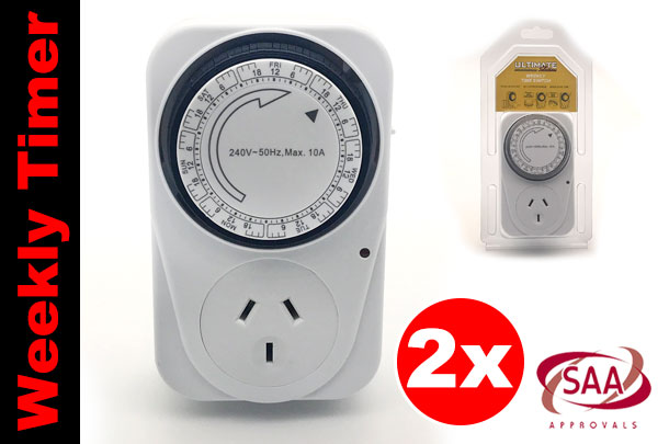 2x Mechanical Weekly Programmable Wall Socket Plug-in Time Switch