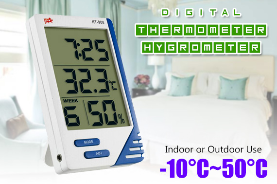 Indoor/Outdoor Digital Thermometer Hygrometer With Probe KT-908