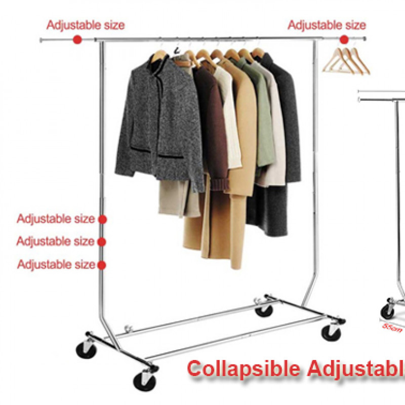 Collapsible Adjustable Single Rail Rolling Garment Rack Hanger