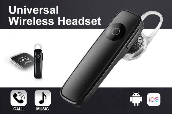 Universal Wireless Bluetooth Handsfree Headset Black
