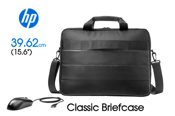 HP Classic Laptop Briefcase & Mouse with 2 Compartments