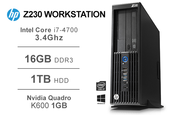 Refurbished HP Z230 Workstation SFF i7-4770 3.4GHz 16GB 1TB Nvidia Quadro K600 1GB Win10 Pro