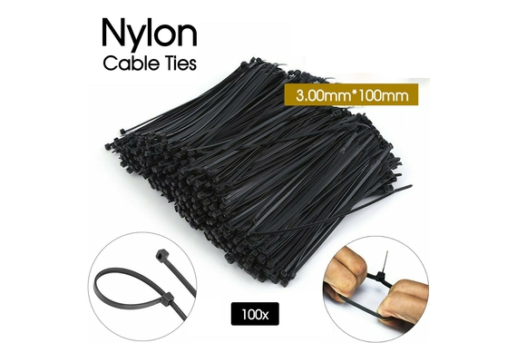 100x Nylon UV Stabilised Black Cable Ties
