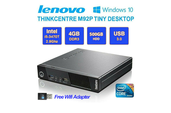 Refurbished Lenovo M92p tiny i5 3470T 2.90GHz 4GB 500GB with Wifi Adapter