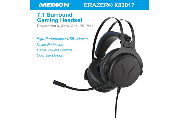MEDION Erazer X83017 Gaming Headset 7.1 Surround USB Adapter Noise Reduction