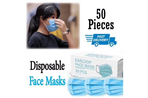 50PCS Disposable Face Cover 3 Layers Anti Flu Bacterial Filter AU Stock