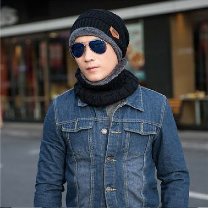 Men Women Winter Beanie Hat and Scarf Set Warm Fleece Knitted Thick Knit Cap