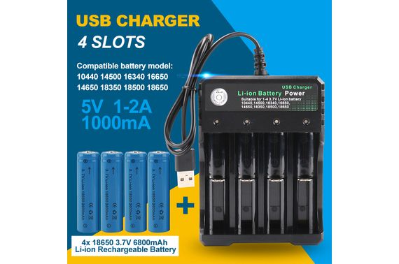 4x 3.7V 3600mAh Li-ion Rechargeable Battery + USB Smart Charger Indicator