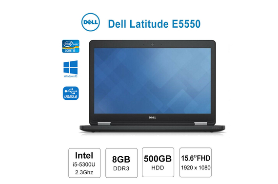 Refurbished Dell e5550 i5 5300u 2.3GHz 8GB 500GB 15.6