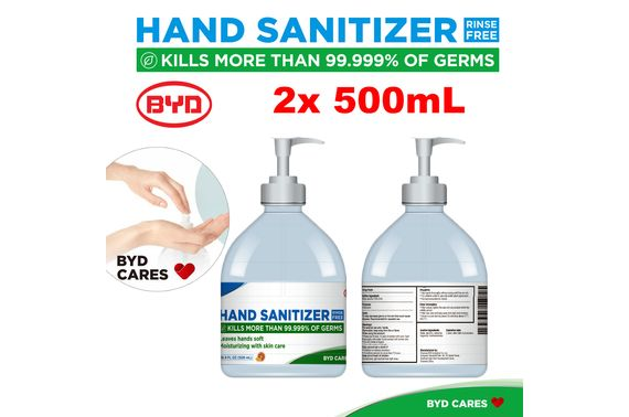 2x BYD 500ml Instant Hand Sanitizer 72% Alcohol Pump Gel Kills 99.999% of Germs