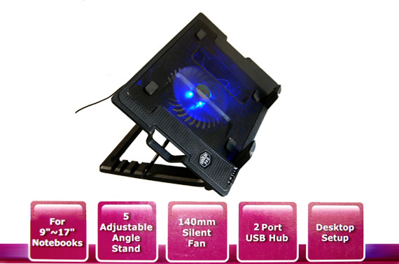 Angled Laptop Stand with Cooling Fan and USB Hub