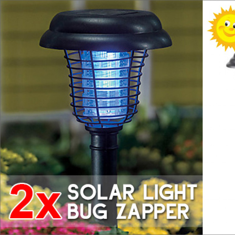 2x 2-in-1 Solar LED Garden Light & UV Bug Zapper