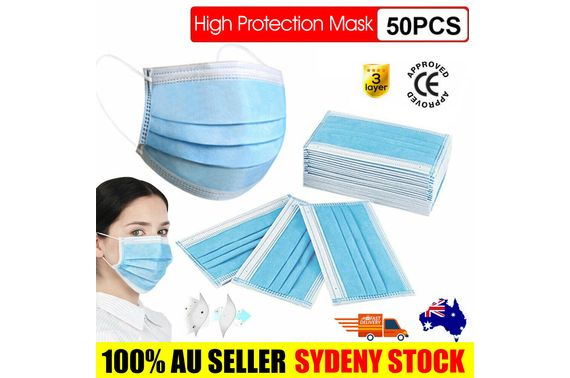 50 Disposable 3 Layer Protective Face Mask Filter Anti Flu Dust SYD STOCK