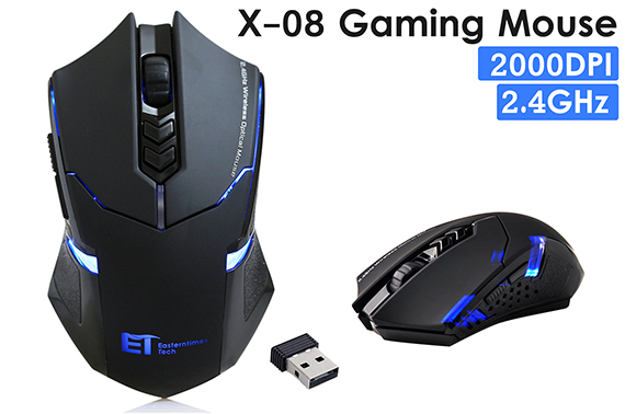 ET X-08 2.4Ghz 2000DPI Wireless Optical Gaming Mouse