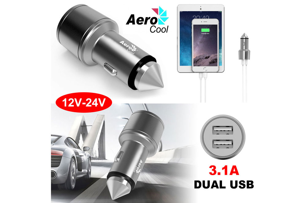 Aerocool 2-Port USB Car Charger 3.1A Aluminum Auto Fast Charging
