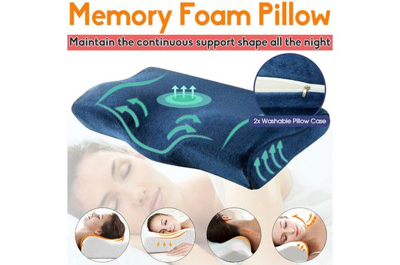 Health Care Memory Foam Neck Pillow Cushion Support Rebound Contour Pain Relief