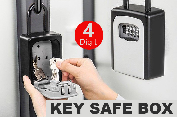 4-Digit Combination Lock Key Safe Storage Padlock