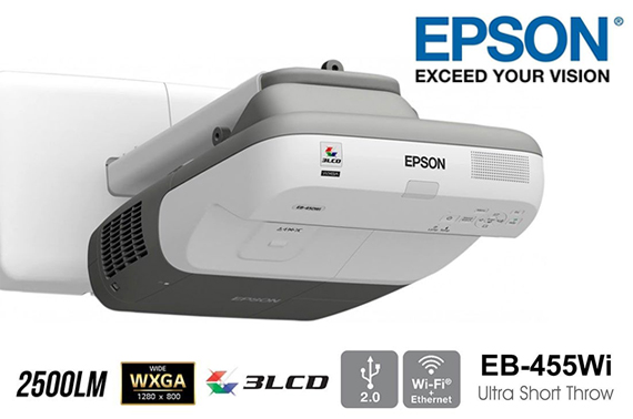 Epson EB-455Wi Ultra Short Throw 3LCD Multimedia Projector WXGA 2500lm w/Speaker