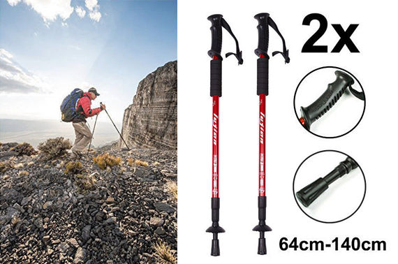 2x New Brand Hiking Trekking Poles Walking Stick Adjustable Camping Red AU Stock