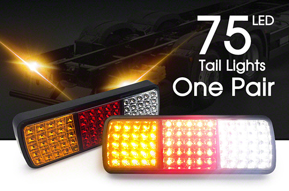 2x LED Tail Lights 12V Brake Reverse 75LED Trailer Truck UTE Caravan