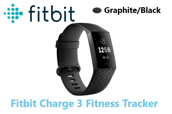Fitbit Charge 3 Fitness Tracker Graphite Black